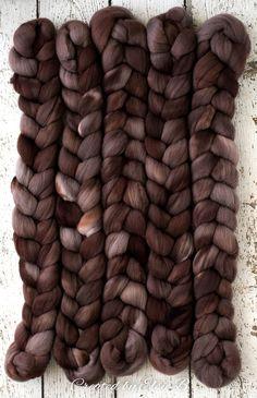 Truffle - Hand dyed Falkland Merino / Rose combed top. Good for spinning yarn, felting, blending