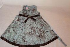 Blue-Brown-Sleeveless-Floral-Dress-Size-2T-Girls-Velvet-Satin-Rosenau-2010