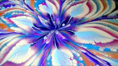 (448) Reverse FLOWER DIP on ROUND canvas ~ Acrylic SPIN FLOWER painting ...