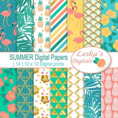 Summer Digital Papers SUMMER Scrapbook paper pack by DigitalWork
