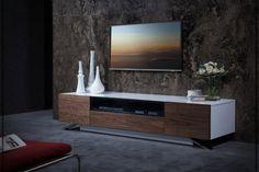 Modrest Gillian Contemporary White & Walnut TV Stand by VIG Furniture Living Room White, Living Room Tv, Small Living, Contemporary Tv Stands, Modern Contemporary, Cool House Designs, Modern House Design, Interior Simple, Interior Design