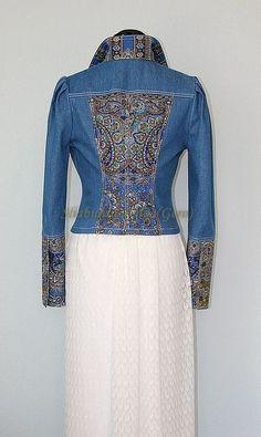 Denim jacket with a decoration from the Pavlovsky Posad shawl. Internet-shop Fair of Masters. Denim Fashion, Hijab Fashion, Boho Fashion, Fashion Design, Diy Vetement, Denim Ideas, Denim And Lace, Recycled Denim, Mantel