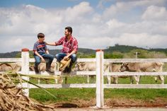 Happy Father And Son Smiling In Farm With Cows Father And Son, Happy Father, Farm Life, Smile, Flowers, Pictures, Royal Icing Flowers, Flower, Florals