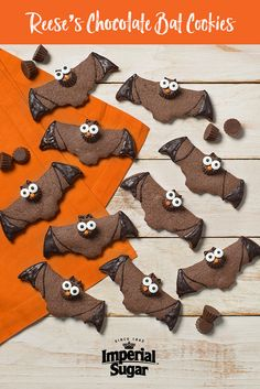 Reese's Chocolate Bat Cookies-Everyone's favorite peanut butter cup sits atop homemade chocolate cookie for some sweet n spooky fun. The decoration is simple enough that even young chefs can easily master it. These sweet treats are the perfect dessert for a fall Halloween party - especially for school or for the neighborhood kids. They also make a great gift for a special teacher.