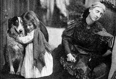 The Motion Picture Story magazine July 1912: Still from the 1912 short film The Church Across the Way, featuring Jean the Vitagraph Dog, Helene Costello and Flora Finch Caption: Aunt Hester decides to sell Jean