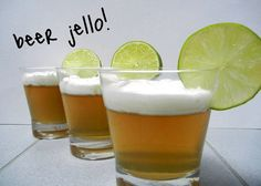 Beer Jello:  1 cup of beer.  2 packets of knox gelatin.  1 cup of water.  6 packets of splenda (or you can use 1/2 cup of sugar)  icing or cool whip topping.  lime garnish.