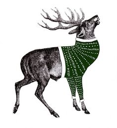 deer with sweater. Now this would be a fun embroidery!