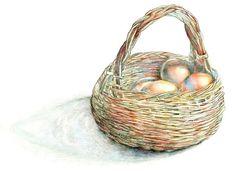 Kitchen Art, Food Decor, Art Print of Original Watercolor--Farm Fresh Eggs. $35.00, via Etsy.