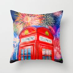Fun Fireworks Over An Iconic Red British Phone Box Throw Pillow by Mark E Tisdale - $20.00