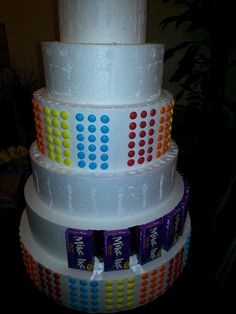 Make a candy cake w Styrofoam hot glue (not around the kids) the candy wola