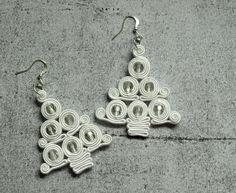 Christmas tree dangle earrings soutache white by ShoShanaArt, $20.00