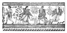 From the Grotta del Triclinio. Ancient Romans, Ancient Greek, Full Moon In Pisces, Greek Dancing, Bacchus, Bronze Age, Trance, Vintage World Maps, Scene