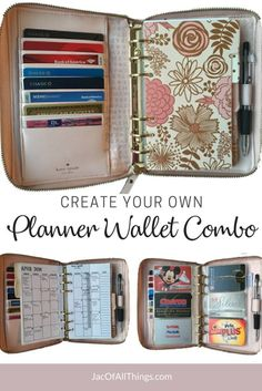 Learn how to make a fully customizable planner wallet combo! Take a look inside my personal sized leather Kate Spade planner to see how I was able to customize for my needs. Use these ideas to setup your own DIY planner wallet with everything that you nee Planner Pages, Life Planner, Printable Planner, Planner Ideas, Money Planner, Arc Planner, Planner Supplies, Happy Planner, Printables