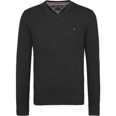 Tommy Hilfiger Pima Cotton Cashmere V-neck Sweater ($120) ❤ liked on Polyvore featuring men's fashion, men's clothing, men's sweaters, men knitwear, mens v neck jumper, mens vneck sweater, mens jumpers, mens sweaters and men's cotton cashmere sweaters