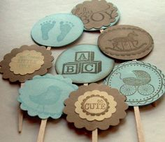 vintage cupcake toppers baby shower boy brown and by 0namesleft, $14.40