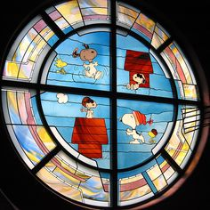 Stained Glass Window in the Snoopy Gift Shop. Santa Rosa, CA which is where Charlez M. Schulz lived