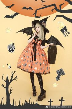 Halloween Treats Japanese Streets, Japanese Street Fashion, Asian Fashion, Kawaii Fashion, Lolita Fashion, Fashion Dolls, Harajuku Fashion, Made In Japan, Tights Outfit