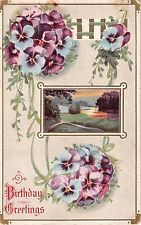River Scene Bordered by Pretty Blue & Purple Pansies on 1914 Birthday Postcard
