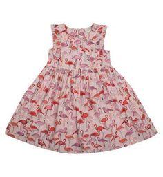 Girls Flamingo Print Dress - Mini Club Clothing - Boots