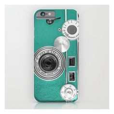 Teal Retro Vintage Phone iPhone & iPod Case featuring polyvore, fashion, accessories, tech accessories and iphone & ipod cases