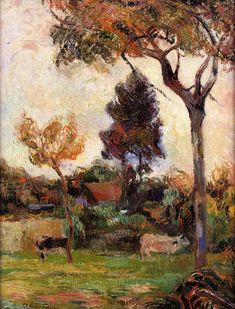 Two cows in the meadow - Paul Gauguin