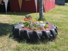My mom has had a tractor tire for a flower planter for years. I want one in my yard.