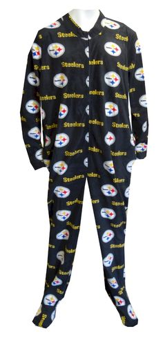Pittsburgh Steelers Logo Guys Onesie Footie Pajama Show your team spirit!  This cozy microfleece footie 8b614f756