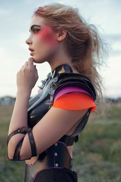 Futuristic urban princess warrior. Love the colors.