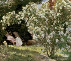 Titre de l'image : Peter Severin Kroyer - Roses, or The Artist's Wife in the Garden at Skagen