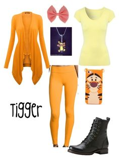 """""""Tigger Disneybound"""" by look-disney ❤ liked on Polyvore featuring Jane Norman, Beyond Yoga, Disney, Frye and Charlotte Russe"""