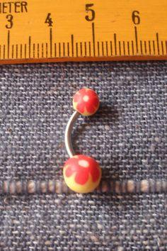 1 Bauchnabelpiercing Fimo Blume UV Schmuck Piercing Nr.1