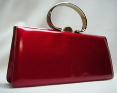 60s NICHOLAS REICH Cherry Red Patent Handbag Purse by Vintageables, $219.00