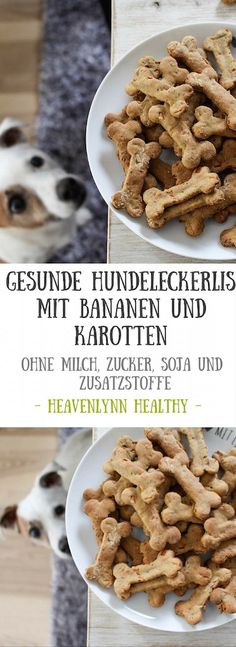 Healthy dog treats with banana and carrots - Heavenlynn .-Gesunde Hundeleckerlis mit Banane und Karotten – Heavenlynn Healthy Healthy dog treats with banana and carrots – vegan, without refined sugar, gluten-free – de. Dog Biscuit Recipes, Dog Treat Recipes, Healthy Dog Treats, Dog Food Recipes, Homemade Dog Cookies, Homemade Dog Food, Maila, Dog Biscuits, Snacks