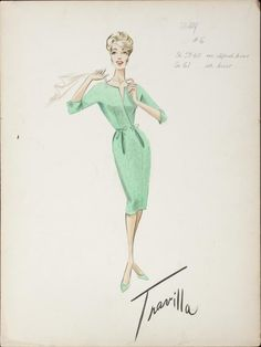 William Travilla - Esquisses et Croquis - Costumes - Joanne Woodward - From the Terrace - 1960