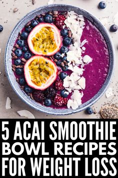 5 Acai Bowl Recipes to Try | If you haven't tried Acai yet, you're missing out! These health – and easy – homemade Acai smoothie bowl recipes will not disappoint. Whether you're a Hawaiian, pineapple, and berry lover, prefer something with peanut butter and chocolate, follow a low carb keto diet, or you're strictly vegan, there's a smoothie bowl recipe here for you! #acai #acaibowl #acaismoothiebowl