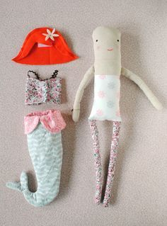 Milly the Mermaid Doll / Mer Mag pattern with Sarah Jane Out to Sea Fabric #freepattern