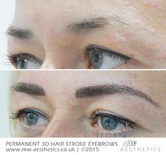 Soft, natural hair stroke tattoo eyebrows