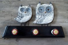 Owl Coat Hooks for woodland spring decor by CattailsWoodwork, $110.00