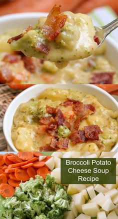 Broccoli Potato Soup This thick and creamy soup is full of delicious vegetables including broccoli, potatoes, and carrots, plus lots of cheese and delicious seasonings. Loaded broccoli potato cheese soup is the ultimate cheesy broccoli soup recipe. Broccoli Potato Cheese Soup, Broccoli Soup Recipes, Healthy Soup Recipes, Vegetarian Recipes, Vegetarian Barbecue, Barbecue Recipes, Vegetarian Cooking, Healthy Potato Soup, Cheesy Potato Soup