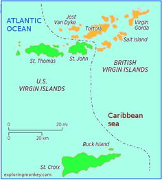 Tortola British Virgin Islands Map Tropical Spaces Pinterest - Us and british virgin islands map