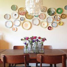 Flea market finds turn into beautiful dining table centerpiece and wall art.