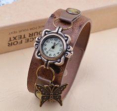 Nova chegada! O pingente de borboleta estilo restaurar maneiras antigas avestruz couro de grão uma mulher relógios charme pulseira relógio US $2.94