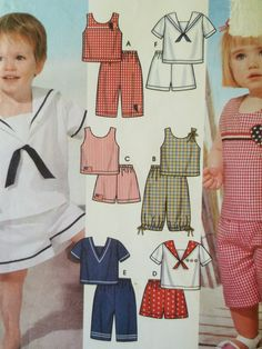 Simplicity 5982 Sewing Pattern, Toddlers Sailor Top, Nautical Style Childrens Shorts, Little Boy Pattern, Little Girl, Chest 19 to 23 Inches by sewbettyanddot on Etsy
