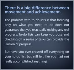 There is a big difference between movement and achievement.  ~Tony Robbins