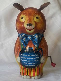 Old Vintage Tin Toy Wind Up Music Box Brown Bear