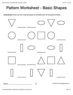 pattern worksheets for kids black white basic shapes 1 2 pattern draw and color the. Black Bedroom Furniture Sets. Home Design Ideas