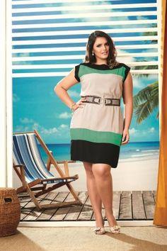 Vestido Plus Size Color em Viscose