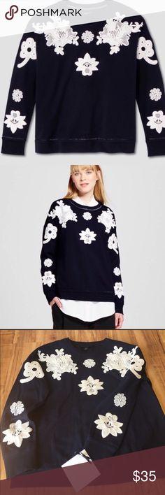 Victoria Beckham Lace Appliqué Sweatshirt Victoria Beckham for Target Lace Appliqué Sweatshirt size small/Navy Victoria Beckham for Target Tops