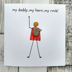 Fathers day card dad birthday card cute card Pebble card