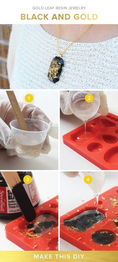 Jewelry Making Tutorials Gold Leaf Resin Jewelry - Create stunning jewelry with this DIY resin kit Wire Jewelry, Jewelry Crafts, Handmade Jewelry, Hanging Jewelry, Jewelry Case, Diy Jewelry Resin, Diy Jewelry Box, Jewelry Ideas, Jewelry Storage
